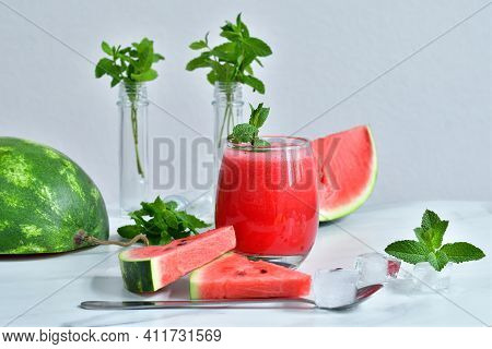 Fresh Watermelon Juice With Mint And Ice In The Glass On White Table.sweet Summer Dessert, Smoothie,