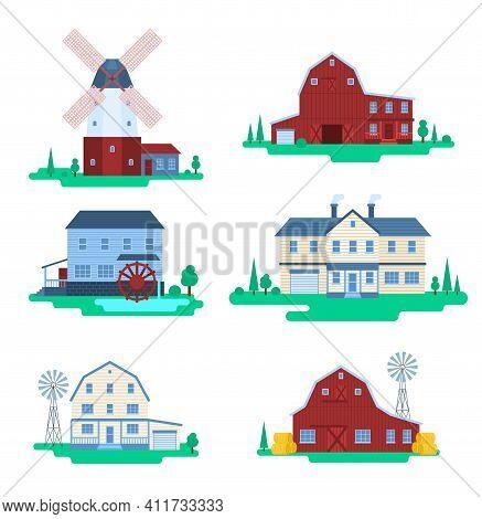 Cartoon Color Farm Buildings Icons Set Concept Flat Design Style. Vector Illustration Of Barn Rural