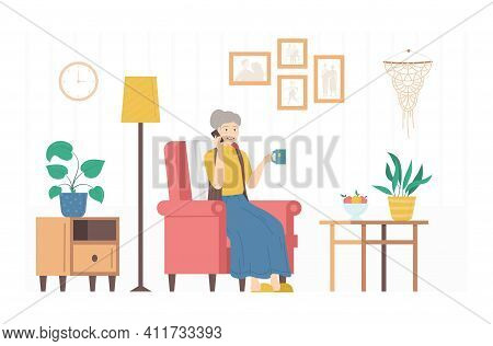 Cartoon Color Character Person Woman And Call Your Mom Concept Flat Design Style. Vector Illustratio