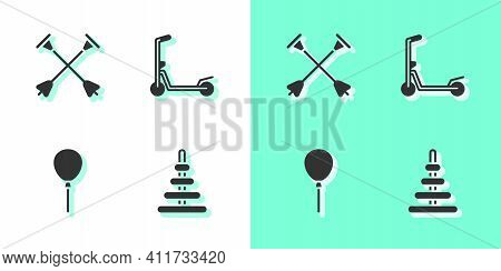 Set Pyramid Toy, Arrow With Sucker Tip, Balloons Ribbon And Scooter Icon. Vector
