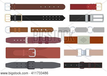 Cartoon Color Different Leather Belt With Metallic Buckle Icon Set Accessory Concept Flat Design Sty