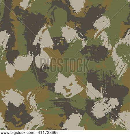 Blots Khaki Camo Seamless Chaotic Pattern Of Paint Splashes Spots. Vector Hand Drawn Camouflage Text