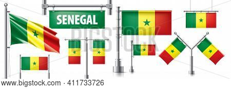 Vector Set Of The National Flag Of Senegal In Various Creative Designs
