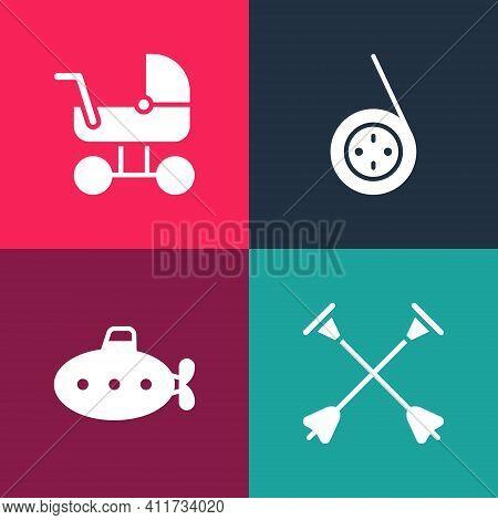 Set Pop Art Arrow With Sucker Tip, Submarine Toy, Yoyo And Baby Stroller Icon. Vector