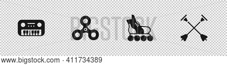 Set Toy Piano, Fidget Spinner, Roller Skate And Arrow With Sucker Tip Icon. Vector