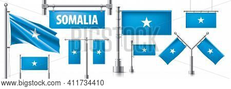 Vector Set Of The National Flag Of Somalia In Various Creative Designs