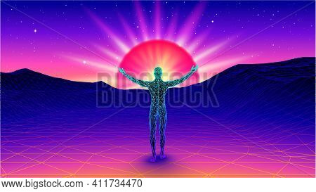 Man Spreading Arms And Welcoming The Sun In Spiritual Enlightment In The Synthwave Or Vaporwave Land