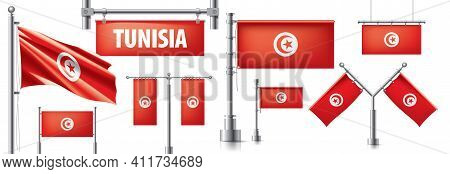 Vector Set Of The National Flag Of Tunisia In Various Creative Designs
