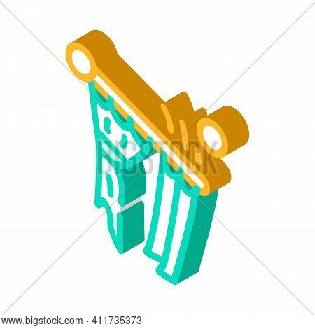 Husband For Hour Installating Cornices Isometric Icon Vector Illustration