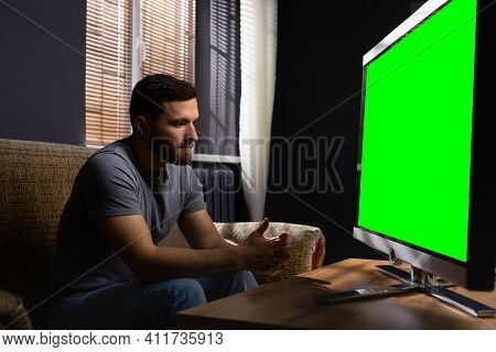 Profile Photo Of Young Handsome Man Wearing Casual Clothes, Enjoying Free Time, Watching Television