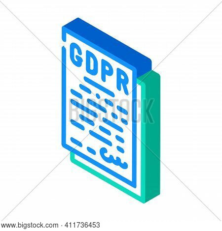 Gdpr General Data Protection Regulation In European Union Isometric Icon Vector Illustration