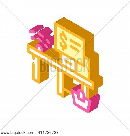 Self-service Checkout Isometric Icon Vector Illustration Sign