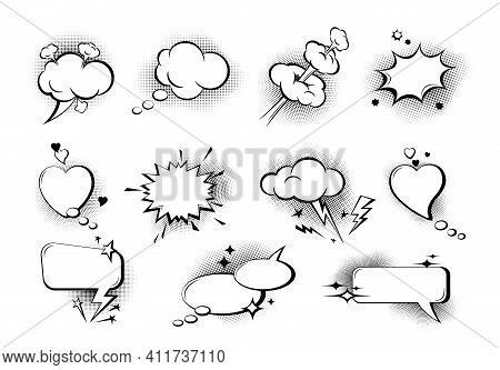 Set Of Empty Comic Speech Bubbles. Sound Effects In Pop Art Style. Collection Of Speech Bubbles And