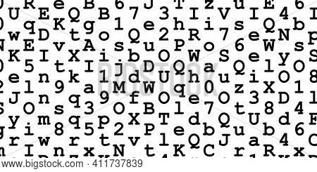 Random black digits and letters looking like code on white background, abstract illustration