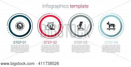 Set Ancient Greek Coin, Ruins, Hermes Sandal And Trojan Horse. Business Infographic Template. Vector