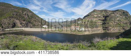 Panoramic View Of Sweet Water Dam Presa De Los Perez Lake In Tamadaba Nature Park. Gran Canaria, Can