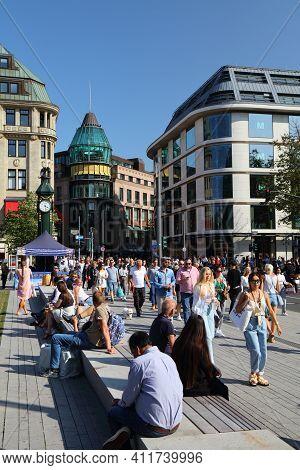 Dusseldorf, Germany - September 19, 2020: People Visit Cornelius Square In Downtown Dusseldorf, Germ