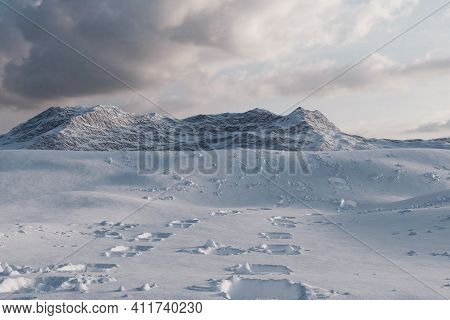 3d Rendering Of Footprints On A Fresh Snow In A Mountain Valley