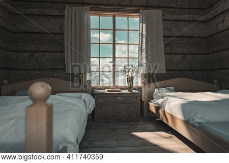 3d Rendering Of Wooden Bedroom In A Chalet In Front Of Beautiful Snow Covered Mountain