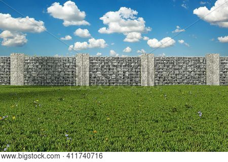 3d Rendering Of Green Garden With Gabione And Stone Plates