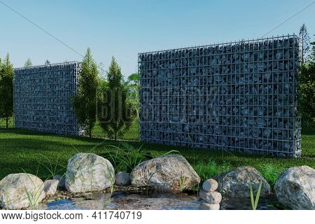 3d Rendering Of Green Garden With Gabion And Pond