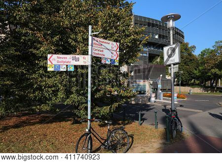 Dusseldorf, Germany - September 19, 2020: Bicycle Route Direction Signs In Dusseldorf, Germany. Duss