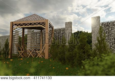 3d Rendering Of Wooden House With Gabion At Garden
