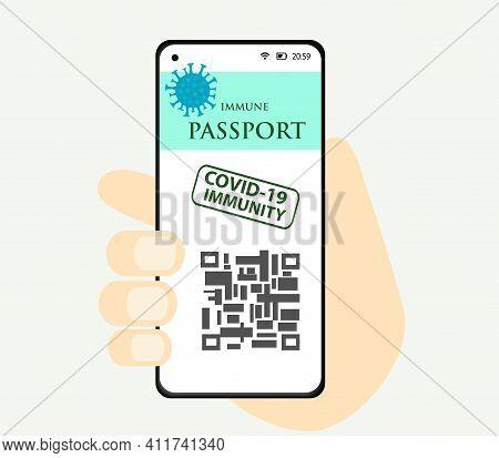 Covid 19 Immune Passport With Test Result, Travel Visa. Coronavirus Vaccination Certificate. Sars 20
