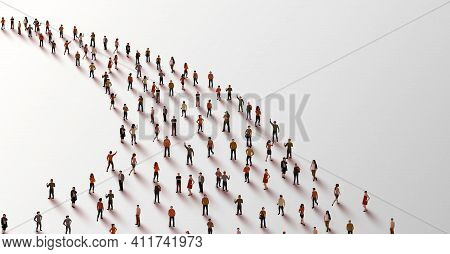 Template With A Crowd Of People Standing In A Line. People Crowd.