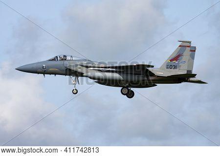 Leeuwarden, Netherlands - April 13, 2015: United States Air Force Usaf Mcdonnell Douglas F-15c Eagle