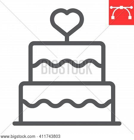 Stacked Wedding Cake With Heart Line Icon, Dessert And Bakery, Love Cake Vector Icon, Vector Graphic