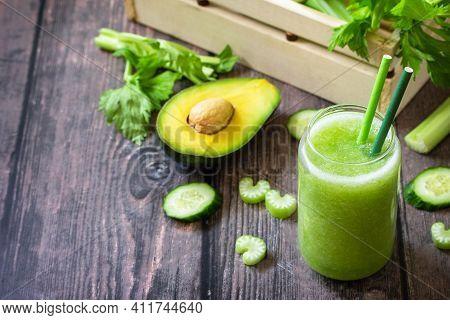 Vegan Diet And Nutrition, Healthy Detox, Vegetarian Concepts Drinks. Green Smoothie Celery, Avocado,