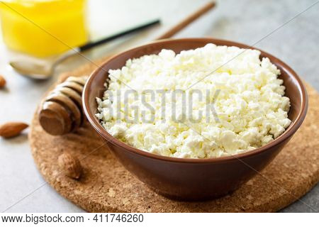 Rich In Calcium Healthy Food. Tvorog, Farmers Cheese, Curd Cheese Or Cottage Cheese In A Bowl With H