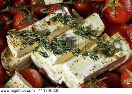 Preparing Of Feta Pasta With Cherry Tomatoes, Feta Cheese With Greens Close Up