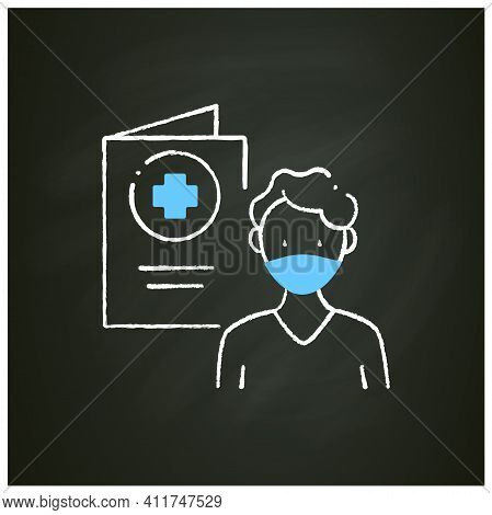 Covid19 Passport Chalk Icon. Man In Mask Has Got Necessary Document. Vaccination Card. Health Care,