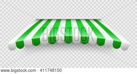 Green Shop Sunshade On Transparent Background. Realistic Striped Cafe Awning. Outdoor Market Tent. R