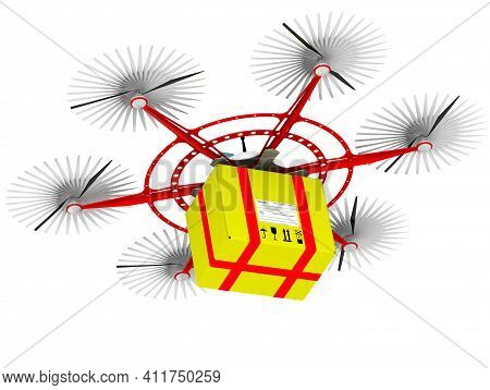 Hexacopter For Parcel Delivery. Unmanned Aerial Vehicle With Six Propellers For Parcel Delivery With