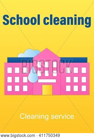 School Cleaning Brochure. Cleanup Rooms.classroom Disinfection Template. Flyer, Magazine, Poster, Bo