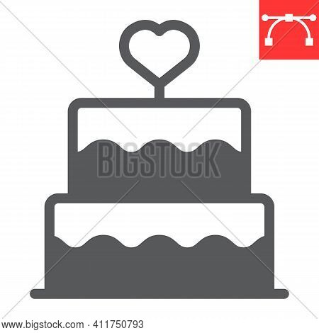 Stacked Wedding Cake With Heart Glyph Icon, Dessert And Bakery, Love Cake Vector Icon, Vector Graphi