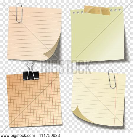 Realistic Blank Sticky Notes With Clip Binder And Adhesive Tape. Colored Sheets Of Note Papers. Pape