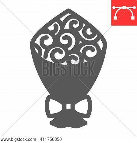Bouquet Of Flowers Glyph Icon, Gift And Floral, Bouquet Roses Vector Icon, Vector Graphics, Editable