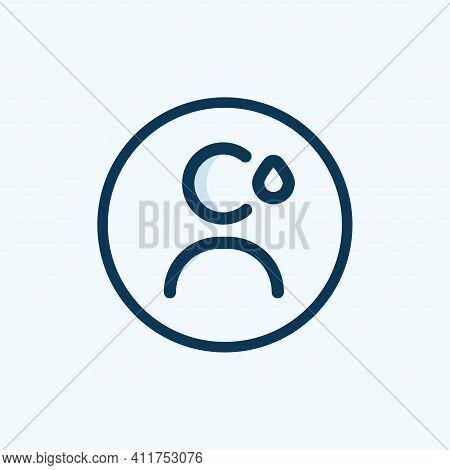 User Profile With Sad Face Line Icon. Sad Rating, Dislike, Feedback Symbol