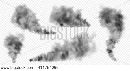 Realistic Black Smoke Clouds. Stream Of Smoke From Burning Objects. Transparent Fog Effect. Vector D