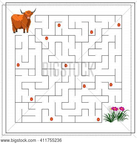 A Maze Puzzle Game For Kids. Help Me Get Through The Maze. Yak, Flowers. Vector Illustration Isolate