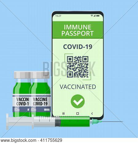 Mobile Phone With Immune Digital Health Passport For Covid-19. Covid-19 Immunity Passport, Immunity