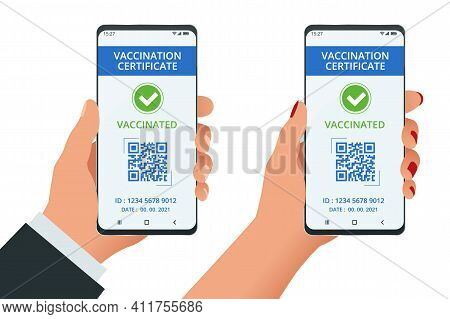 Mobile Phone With Immune Digital Health Passport For Covid-19. Covid-19 Immunity Passport, Immunity