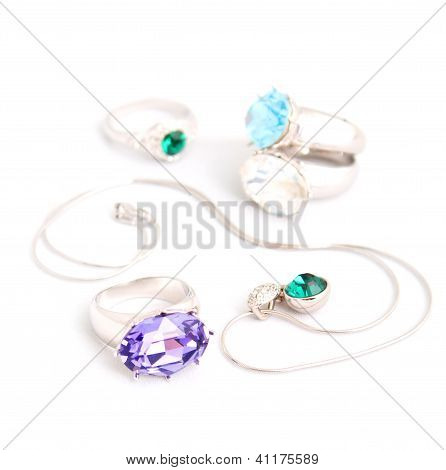 Jewelry On White Background Isolated