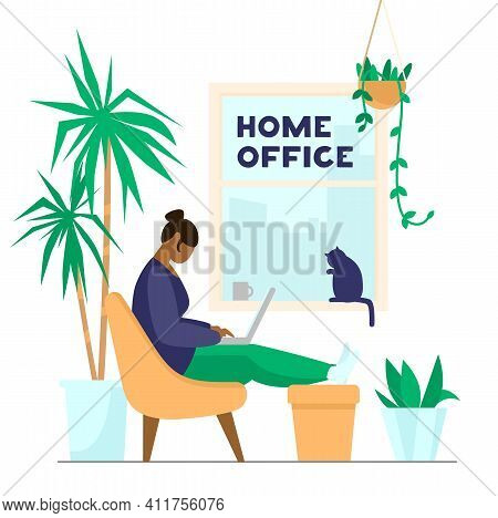 Afro American Woman Working Or Studying At Laptop From Home. Home Office With Plants And Cat. Flat V