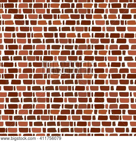 Red Brick Wall Seamless Pattern On Transparent Background. Cartoon Vector.
