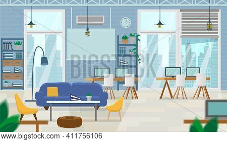 Empty Open Space, Loft, Coworking Space Interior With Modern Furniture And Cityview In Windows. Flat